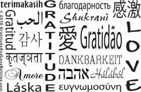 Gratitude and Love design - 18 languages